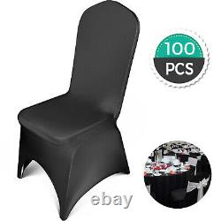 100Pcs Universal Black Polyester Spandex Wedding Party Chair Covers vevor
