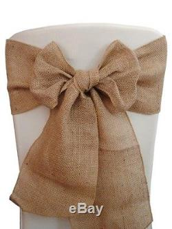 100 Burlap Chair Sashes 6x108 Wedding Event Parties Shows 100% Natural Jute