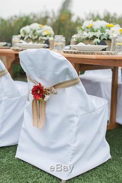 100/Pc Folding Polyester Chair Covers Wedding Party Banquet 3 Colors Free Ship