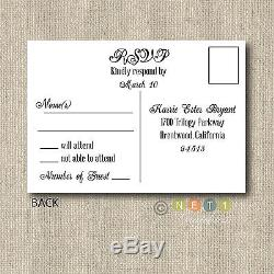 100 Personalized Country Rustic Lace Wedding Invitations & Post Card RSVP