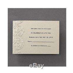 100 Personalized Laser Cut Wedding Invitations with Pearls and RSVP Set