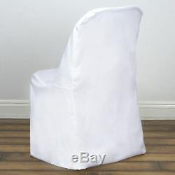 100 WHITE Polyester FOLDING CHAIR COVERS Wedding Party Banquet Event Decorations