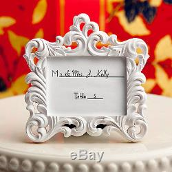 100 White Baroque Style Place Card Holder Photo Frame Wedding Favors