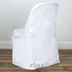 100 White Polyester FOLDING Flat CHAIR COVERS Wedding Party Banquet Decorations