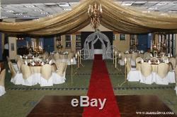 100 gold embroired banquet chair caps covers bow sash