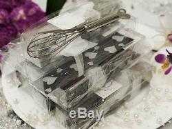 100 pcs SILVER Heart Whisks FAVORS in Gift Boxes Wedding Party Wholesale Supply
