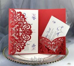 100pcs Floral Lace Laser Cut Wedding Invitation Card Party Blank Inner Envelopes