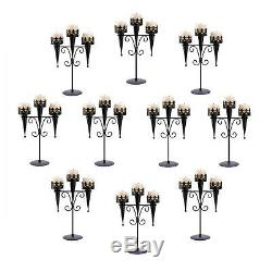 10 CANDLE HOLDERS Gothic Wedding Black Medieval Triple Candle Stand Set NEW