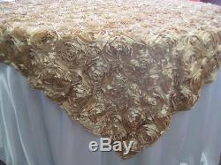 10 Champagne Rosette Satin Overlays 54x54 Tablecloths Table Cover Ribbon Rose