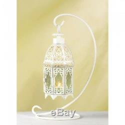 10 Lattice Lantern White Ivory Candle holder centerpieces with Stand 13 in Tall