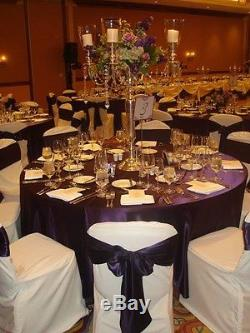 10 Pack 132 Round Wedding Satin Tablecloths 30 Colors 6ft Table Cover Made USA
