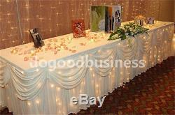 10ft/24ft x 29'' Luxury Wedding Decoration Ice Silk Fabric Table Skirt With Swag