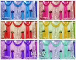 10x10FT Pleated Wedding Backdrop Curtain Background Decor Sparkly Sequin Swag HT