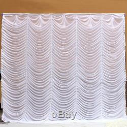 10x10FT White Wedding Backdrop Party Event Wave Curtain Drape Wedding Supplies