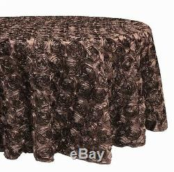 120 Rosette Satin Tablecloth 22 Colors Ribbon Rose Wedding Cake Table Overlay