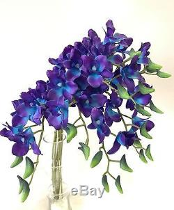 12 Latex Real Touch Singapore Blue Purple Orchid Dendrobium Orchids Silk Flowers