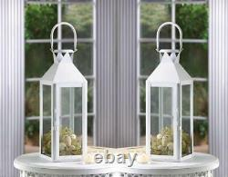12 Lot Large 15 White Tall Candle Holder Lantern Lamp Wedding Table Centerpiece