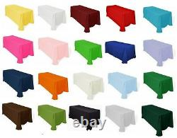 12 Rectangle 60×126 Polyester Tablecloths 20 Colors 100% Seamless Made in USA