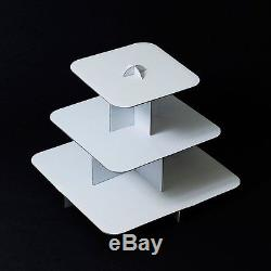 12 White Cake Stand 3 Tier Square Cupcake Tree Party Deco Wedding Baby Shower