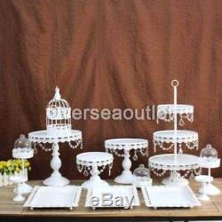 13Pcs Crystal Metal Cake Holder Cupcake Stand Wedding Birthday Display with Crysta