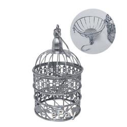 14pc Lace Crystal Wedding Cake Stand Set Silver Metal Cupcake Tower Holder Plate