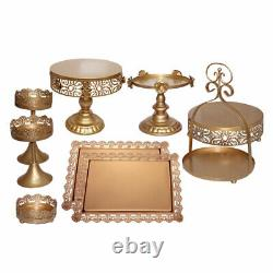 14pcs Classical Gold Cake Stand Wedding Party 3-Tier Metal Dessert Holder Set US