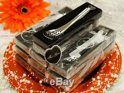 150 pcs Perforated Slotted Silver SPOONS FAVORS in Gift Boxes Wedding Party SALE