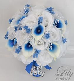 17Piece Package Silk Flower Wedding Bridal Bouquet Picasso Calla Lily ROYAL BLUE