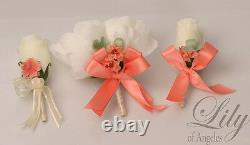 17 Piece Package Silk Flower Wedding Bridal Bouquet LIME MOSS MINT CORAL IVORY