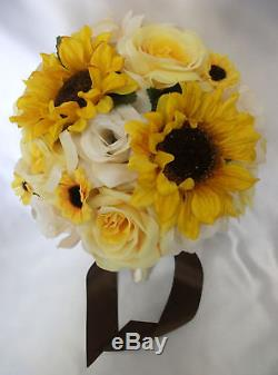 17 pieces Wedding Bridal Bouquet Round Sunflower Package Decoration YELLOW IVORY