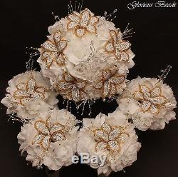 17pcs BEADED LILY Bridal Bouquet Wedding Flower Rose Package White & Gold Beads