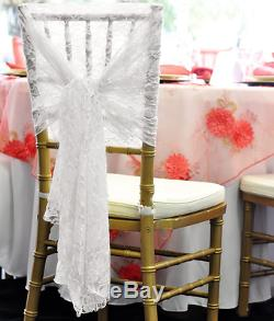 1 10 50 100 White Lace Chair Cover Hood Sashes Wedding Decor Party UK Brand New