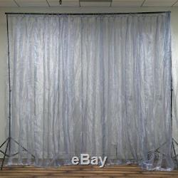 20FT x 10FT 600 Sequential Silver LED Lights Organza Curtain Backdrop Decoration
