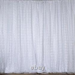20 ft x 10 ft WHITE Ribbon Roses BACKDROP Wedding Party Photo Booth Decorations