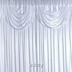 20 ft x 10 ft WHITE Satin Valance BACKDROP Wedding Party Photo Booth Decorations