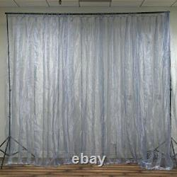 20ft x 10ft Silver LED Lights Organza BACKDROP Curtain Photobooth Wedding Party