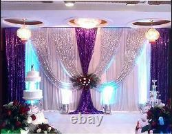 20x10ft Wedding Stage Backdrop Party Drapes Swag Silver Purple Sequin Background