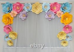 21 Large Paper Flowers Backdrop, Birthday, Wall Decor, Party Decoration, Wedding