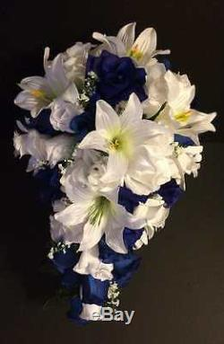 21 Piece Package Bridal Bouquet Silk Wedding Flowers Navy Blue TIGER LILY