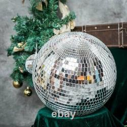 24 Large Silver Glass Hanging Disco Mirror Ball Wedding Party Decorations SALE