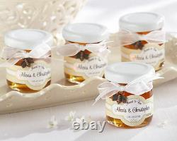 24 Meant to Bee Honey Jar Bridal Wedding Favors with Bow & Charm Personalized