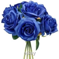 25cm Artificial BLUE Rose Silk Flowers 7 Large Head Floral Fake Valentines
