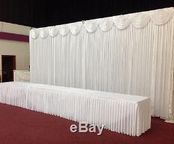 3Mx3M White Wedding Backdrop Curtain with Detachable Swag for SALE (10ftx10ft)
