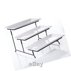 3 Tier Rectangular Serving Platter Three Tiered Cake Tray Stand Food Server D