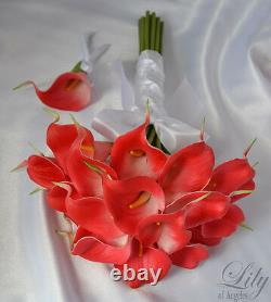 4 pieces Wedding Bridal Bouquet REAL TOUCH Calla Lily Flowers CORAL CARE01