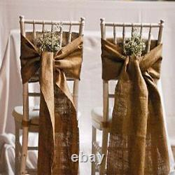 50 Burlap Chair Sashes 100% Natual Refined Jute Squared end Event Wedding Decor