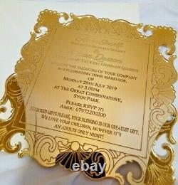 50 Gold Mirror Acrylic Asian Wedding Invitations with Envelopes
