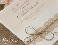 50 Personalised Handmade Vintage Rustic Lace Day / Eve Wedding Cards Invitations