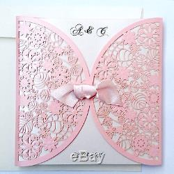 50 Personalised Wedding Invitations Laces Laser Cut Free PP FREE ENVELOPES