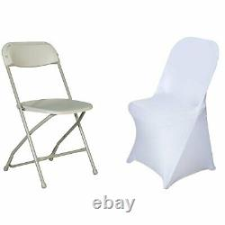 50 WHITE Folding Stretch SPANDEX CHAIR COVERS Wedding Supplies Event Decorations